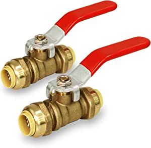 Pushlock UPBV1-2 Full Port fit Ball Valve Water Shut Off Push to Connect PEX,Copper, CPVC, 1 Inch, Brass Pack of 2