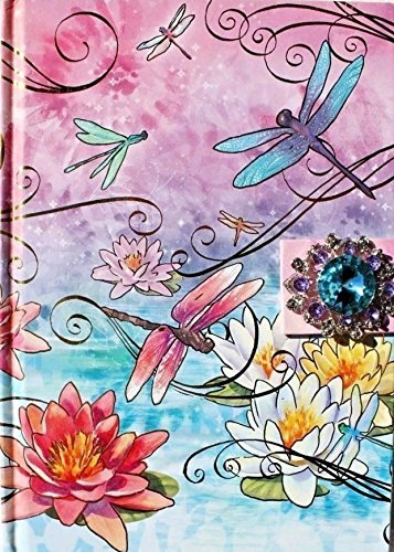 Water Lilies Dragonfly - Punch Studio Jeweled Brooch Note Book Hardcover Journal ~ Dragonfly Water Lily P 69201