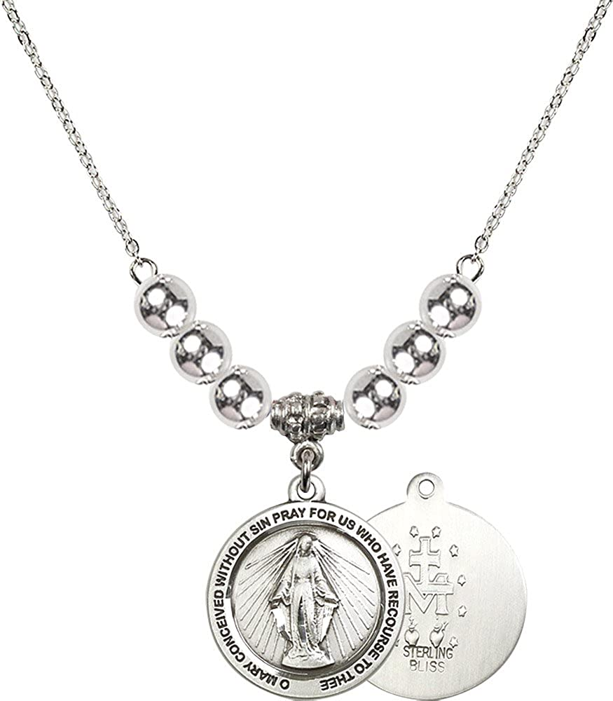 18-Inch Rhodium Plated Necklace with 6mm Sterling Silver Beads and Sterling Silver Miraculous Charm.