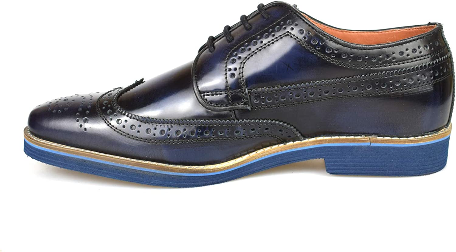 Mens Premium Leather Patent Navy Blue Formal Lightweight Brogues