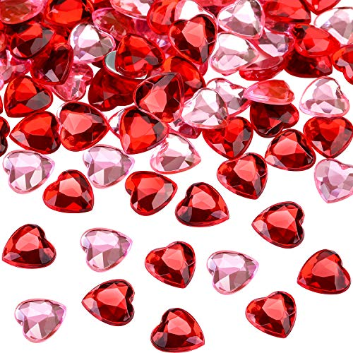Chengu 200 Pieces Red Acrylic Heart for Valentines Day, Wedding Heart Table Scatter Decoration, Flat Back Heart Rhinestones, 0.5 Inch (200 Pieces, Red, Pink)