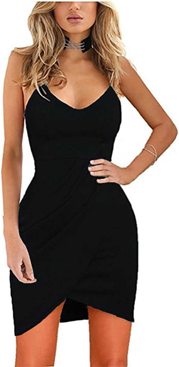 Stylish Sleeveless Deep V Neck Solid Color Backless Bodycon Club Party Dress