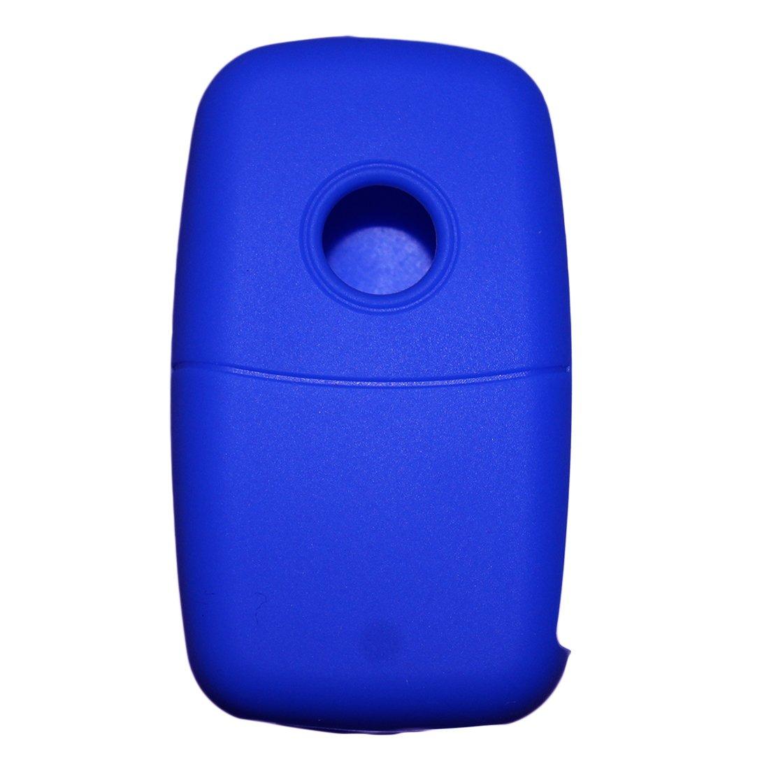 Muchkey Silicone Cl/é De Voiture Cas Cl/é De Voiture Housse De Protection Fit Pour 3 Bouton T/él/écommande Cl/é Avec Bleu Silicone Housse De Protection