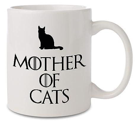 Taza de cerámica inspirada en Juego de Tronos de Madre de Gatos, color blanco,
