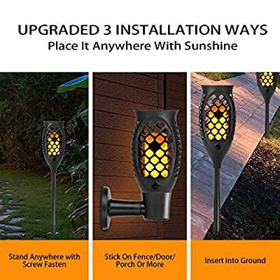 KAZOKU Solar Lights Outdoor with 99 LED Solar Light, Outdoor Decor Waterproof Dancing Flame Torch Lights, Decoration Lighting For Patio,Deck,Yard,Garden,Path,Driveway (2 Pack)