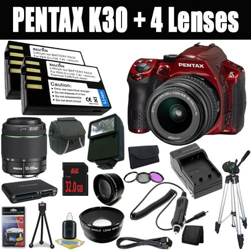 Price comparison product image Pentax K-30 Weather-Sealed 16 MP CMOS Digital SLR (Red) with Pentax DA 18-55mm f / 3.5-5.6 AL Lens+ SMC Pentax DA 50-200mm f / 4-5.6 ED Zoom Lens+ Two D-LI109 Replacement Lithium Ion Batteries + External Rapid Charger + 32GB SDHC Class 10 Memory Card + 52mm Wide Angle Lens + 52mm 2x Telephoto Lens + 52mm 3 Piece Filter Kit + Mini HDMI Cable + Carrying Case + Full Size Tripod + External Flash + Stepping Ring + Multi Card USB Reader + Memory Card Wallet + Deluxe Starter Kit DavisMax Bundle