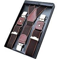 MENDENG Mens Suspenders Y Back Elastic Adjustable Solid Straight Clip Braces