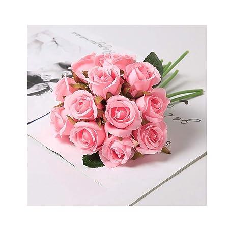 12 Cabezas simulación Flores Artificiales Rosa Flor Falsa ...