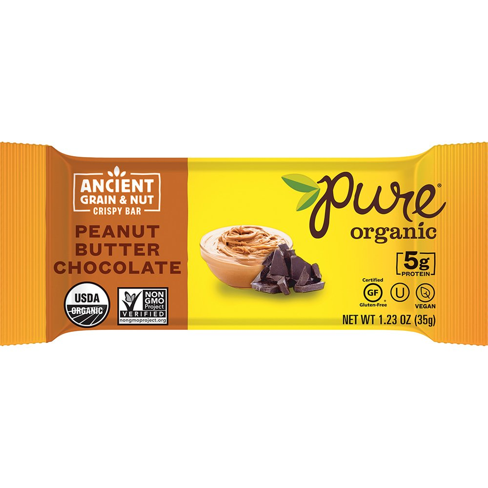 Pure Organic Peanut Butter Chocolate, Ancient Grain and Nut Crispy Bar, Gluten-Free, Certified Organic, Non-GMO, Vegan, Kosher, Plant Based Whole Food Nutrition Bar, 1.23 ounce Pack of 12