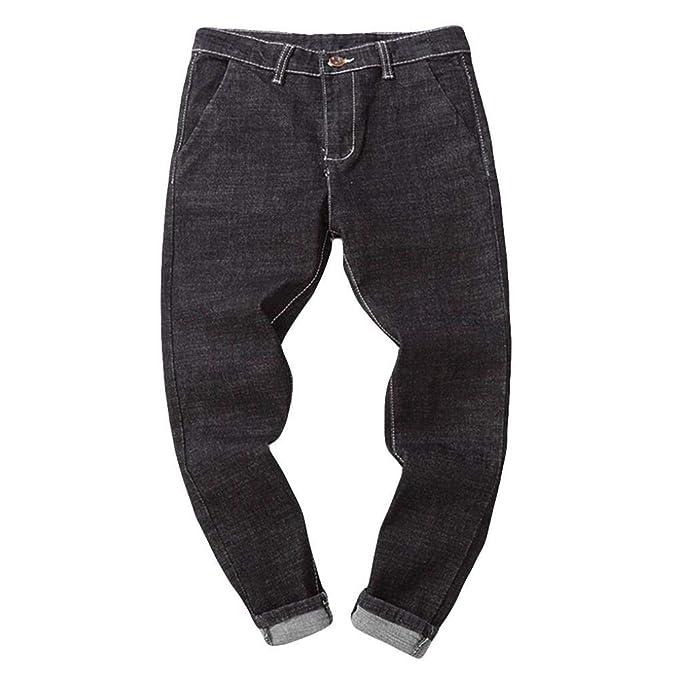 ZODOF Jeans Casuales Retro Negros Pantalones Vaqueros ...