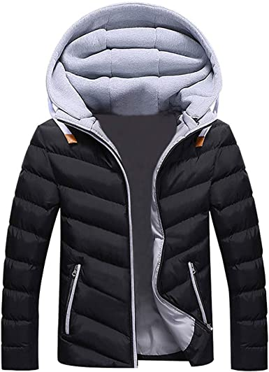 Alion Mens Winter Padded Coats Short Down Jacket with Removable Hood