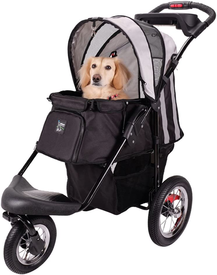 ibiyaya 3 Wheeler Pet Stroller for Dog Collapsible with Air Filled Tires