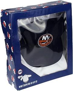 Mighty Mac New York Islanders NHL Baby Boys Infants Creeper & Cap Gift Set, White - Navy