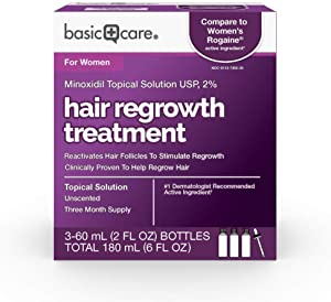 Amazon Basic Care Hair Regrowth Treatment For Women, Minoxidil Topical Solution, 2%, 6 Fluid Ounces