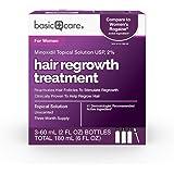 Amazon Basic Care Hair Regrowth Treatment For Women, Minoxidil Topical Solution, 2%, 6 Fluid Ounces