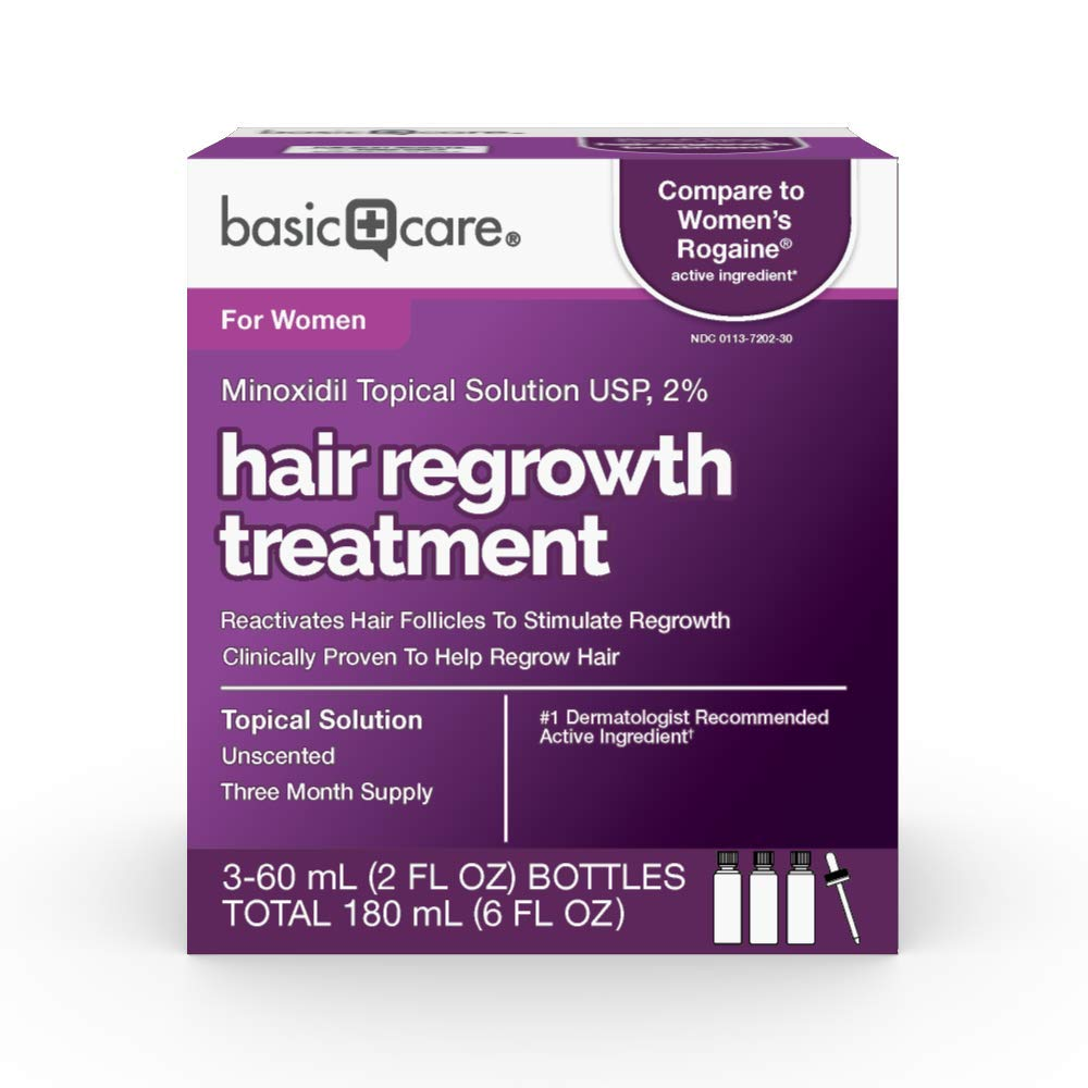 Amazon Basic Care Hair Regrowth Treatment For Women, Minoxidil Topical Solution, 2 , 6 Fluid Ounces