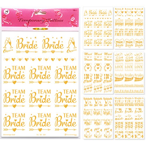 Bachelorette Party Flash Tattoos - Bride Tattoo Favors & Wedding Party Decorations - Bridal Shower Gold Temporary Bridesmaid Stickers Accessories -Team Bride Squad Bride Tribe - 75+ Tattoos (6 - Glitter Party Tattoo