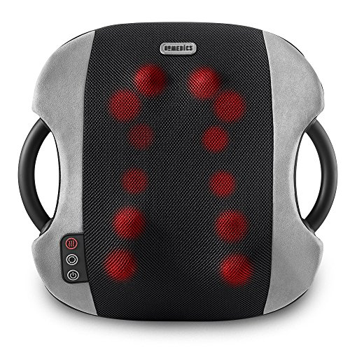 Shiatsu Heated Lumbar Massage Cushion | Heated Vibrating Pad, 12 Massager Nodes, Dual-Kneading Contoured | Portable, with Carry Handles, Pressure, Heated Back Massager | HoMedics (Back Massager For Chair Homedics)
