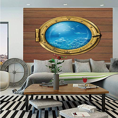 Shark Removable Wall Mural,Submarine Chamber Window with A View of Coral Reef Swimming Fishes Print,Self-Adhesive Large Wallpaper for Home Decor 66x96 inches,Light Caramel Blue Gold