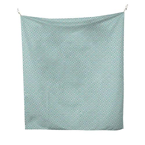 70w Compact - Circleoutdoor tapestryEastern Style Compact Design Ocean Inspired Wavy Lines and Polka Dots Aquatic 70W x 84L inch Ceiling tapestrySky Blue White