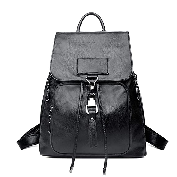 Amazon.com: Leather Women Travel Shoulder Bag Ladies Bagpack Large Capacity Backpack: Clothing