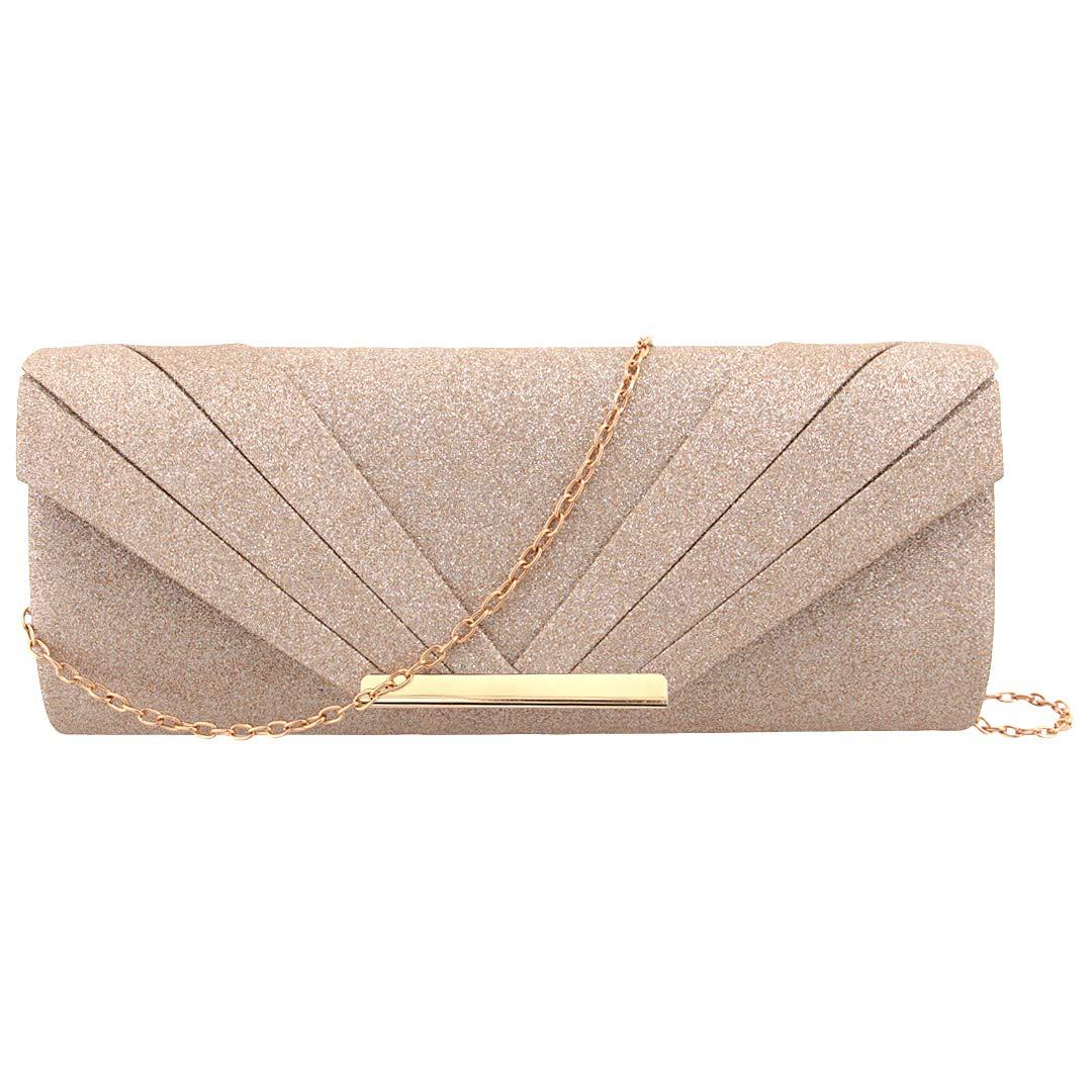 Naimo Womens Sparkle Paillette Clutch Bag Evening Bag Purse for Party Cocktail Wedding Elegance Envelope Purse Wallet Bag (Rose gold)