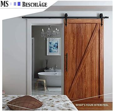 Sistema de puerta corredera Classic negro mate, riel para puertas correderas: Amazon.es: Bricolaje y herramientas