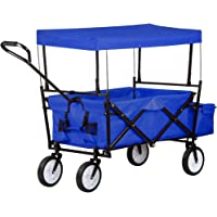 UISEBRT Bollerwagen faltbar - Handwagen Gartenwagen Transportwagen Strandwagen mit Bremsen Vorderräder 360°drehbar