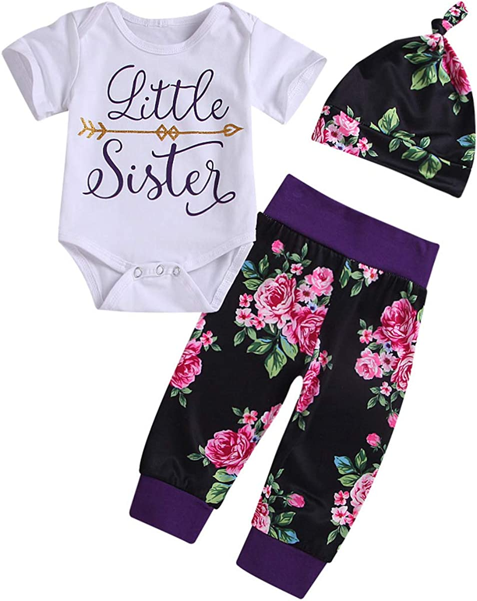 Big Little Sister Matching Clothes Letter Romper Floral Pants Hat Headband Outfit