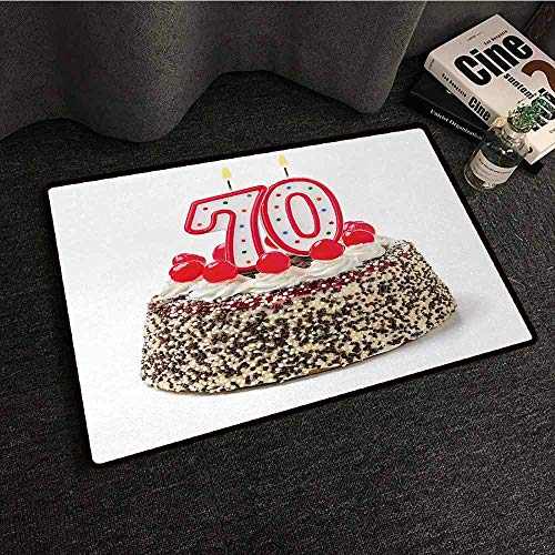 (SONGDAYONE Welcome mat 70th Birthday Birthday Cake with 70 Number Candles and Sprinkles Party Event Photo Image Unique Design Multicolor,W16 xL24)