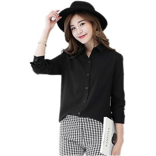 06ef9782f88 FANYANG Women s Long Sleeve Casual Shirt Turn Down Collar Chiffon Blouse  Tops