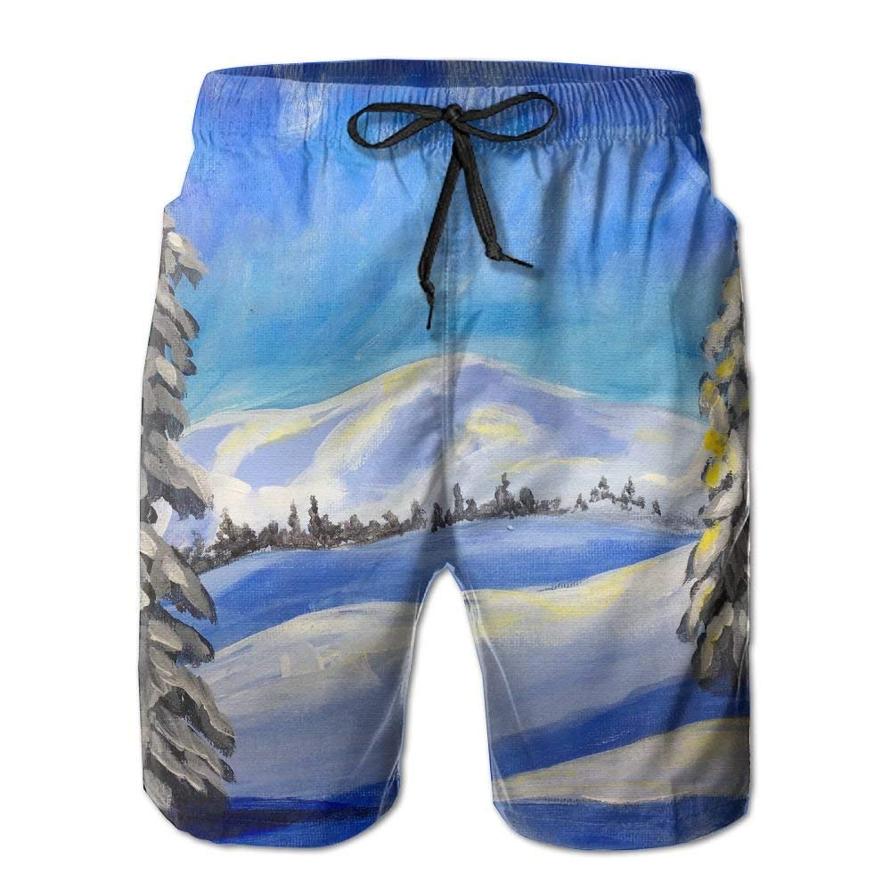 Snow Land Tree Sun Painting Athletic Mens Shorts Beach Swim Trunk Summer