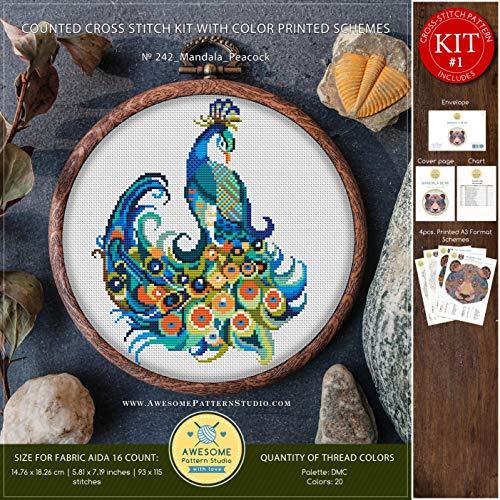 Mandala Peacock #K242 Cross Stitch Embroidery Kit | Funny Animals Cross Stitch Kits | Embroidery Kits | Needlepoint | Embroidery Designs | Cross Designs (Peacock Designs Embroidery)