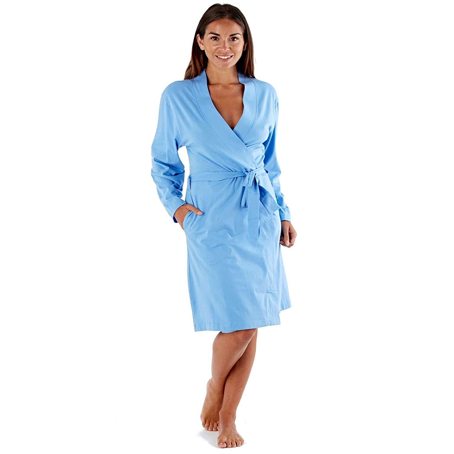 Selena Secrets Ladies Lightweight Thin 100% Cotton Dressing Gown Size 8 to 22 Bath Robe Wrap