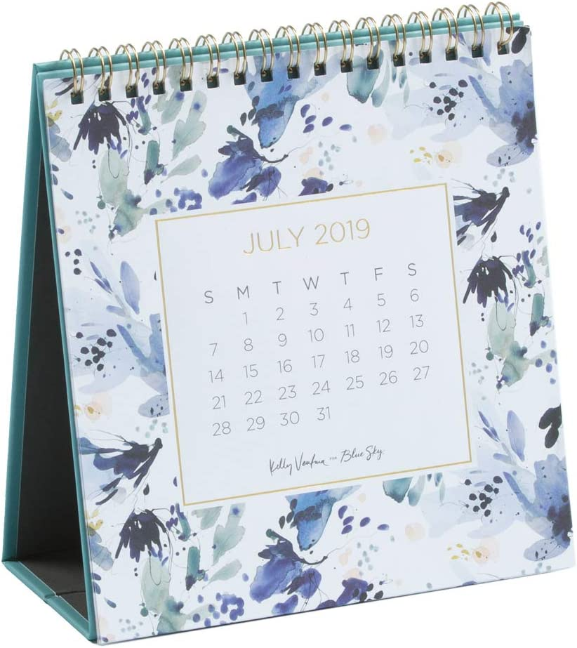 """Kelly Ventura for Blue Sky 2019-2020 Academic Year Monthly Desk Calendar with Stand, Gold-Tone Twin-Wire Bond, 6"""" x 6"""", Hillside"""