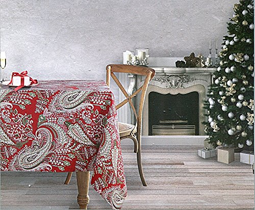 Dash Away Home Red and Green Paisley Holiday Tablecloth (Red Background), 60-by-120 Inch Oblong Rectangular ()