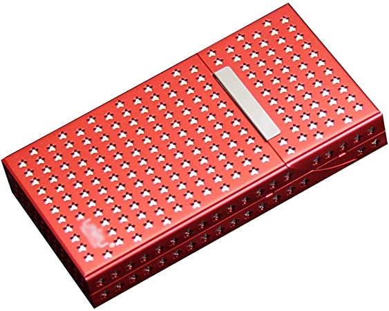 XIAOXIAO Caja de Cigarrillos Caja De Cigarrillos De Aleación De Aluminio De Doble Capa Imán De