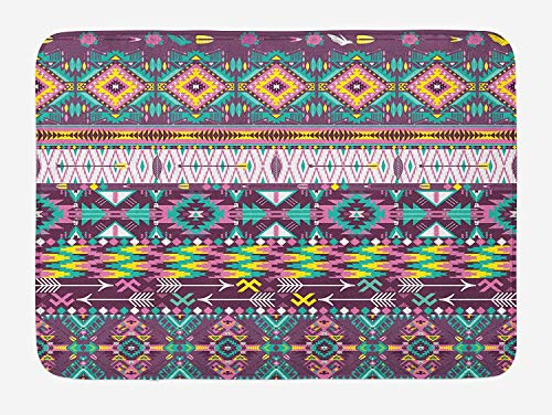 Weeosazg Native American Bath Mat, Ethnic Traditional Aztec Pattern Geometric Figures and Arrows Art, Plush Bathroom Decor Mat with Non Slip Backing, 31.5 X 19.7 Inches, Teal Purple Yellow -