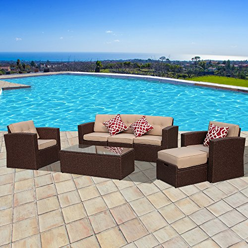 PATIOROMA Outdoor Furniture Sectional Sofa Set (7-Piece Set) All-Weather Brown Wicker with Beige Seat Cushions & Glass Coffee Table & Ottoman| Patio, Backyard, Pool|Aluminum Frame (All Weather Brown Wicker)