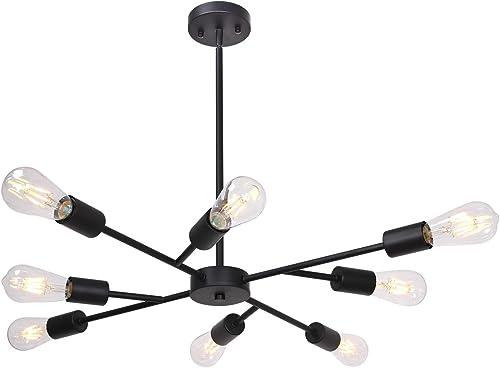 Banato Modern Chandelier Pendant Lighting Black with Adjustable Arms Sputnik Ceiling Light Fixture 8 Lights for Dining Room Hallway