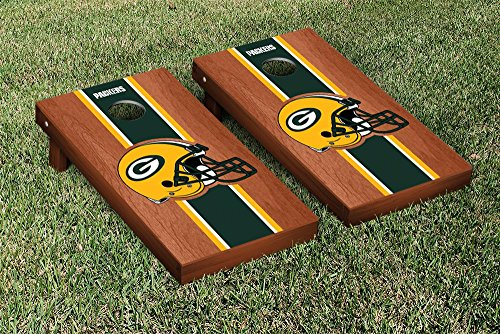 NFL Green Bay Packers Rosewood Stained Stripe Version Football Cornhole Game Set, 24'' x 48'', Multicolor by Victory Tailgate