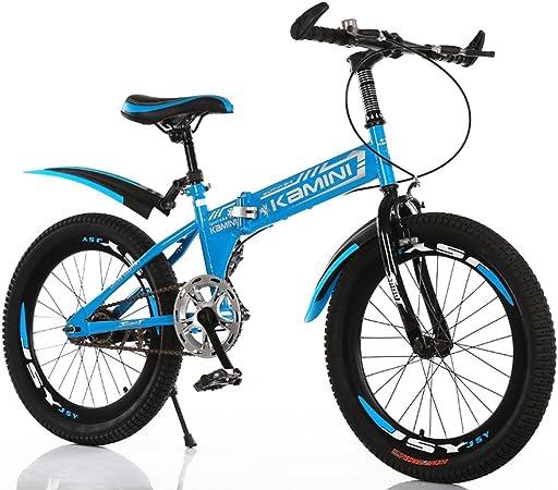 CivilWeaEU- Azul 18/20/22 Pulgadas 6-8-10-12 años de Edad de la Bicicleta para niños, niños y niñas se Pueden Plegar Bicicleta de la Escuela Primaria de Velocidad única (Tamaño : 18 Inches): Amazon.es: Hogar