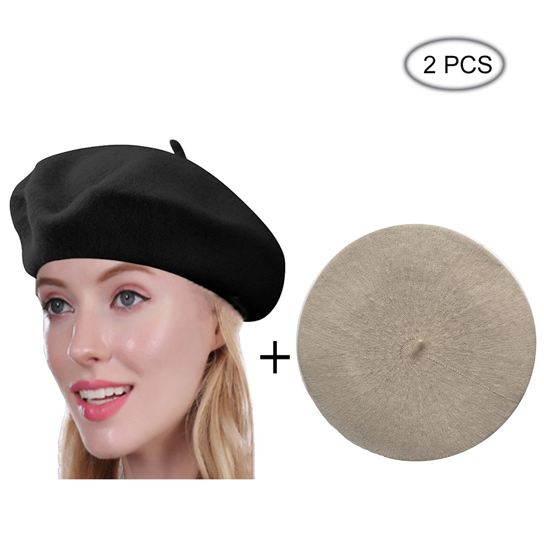 Raylarnia Beret Hat of French Vintage Style, Elegant Soft Stretch Wool Cap, Lightweight Classic Boinas Winter Beanie (Black/Beige)