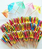 "ReaLegend 3.9"" Cocktail Parasols Cocktail Umbrella Sticks Party Frilled Sandwich, Appetizer, Cocktail Picks Party Supplies Plates Cake Drink Picks 144 Count - Multicolor"