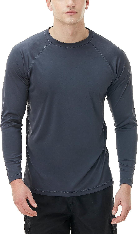 TSLA Men's Rashguard Swim Shirts, UPF 50+ Loose-Fit Long Sleeve Shirts, Cool Running Workout SPF/UV Tee Shirts: Clothing