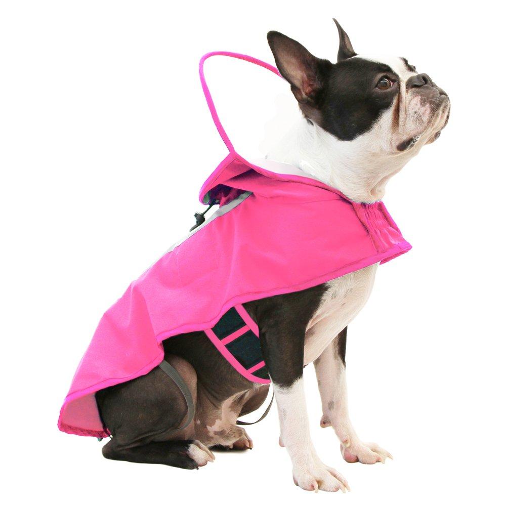 Pink Medium chest (18-25\ Pink Medium chest (18-25\ Gooby Raincoat, Adjustable Rain Cap with See Through Visor, Pink, Medium