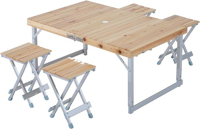 Outsunny – ® Conjunto de muebles de camping – mesa de madera plegable y 4 taburetes – se guardan en forma de maleta