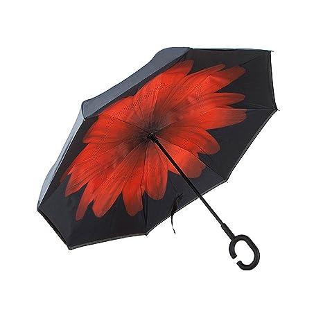 Y&S Paraguas Reversible, Paraguas Gran Lluvia y Lluvia Paraguas Largo Paraguas Plegable Paraguas Anti-