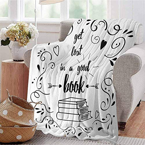 SSKJTC Soft Lightweight Blanket Get Lost in a Good Book Printed Quote with Hand Drawn Floral Pattern with Books Arrow Black White Sofa Camping Reading Car Travel W70 xL84 (Arrow Lost Corp)