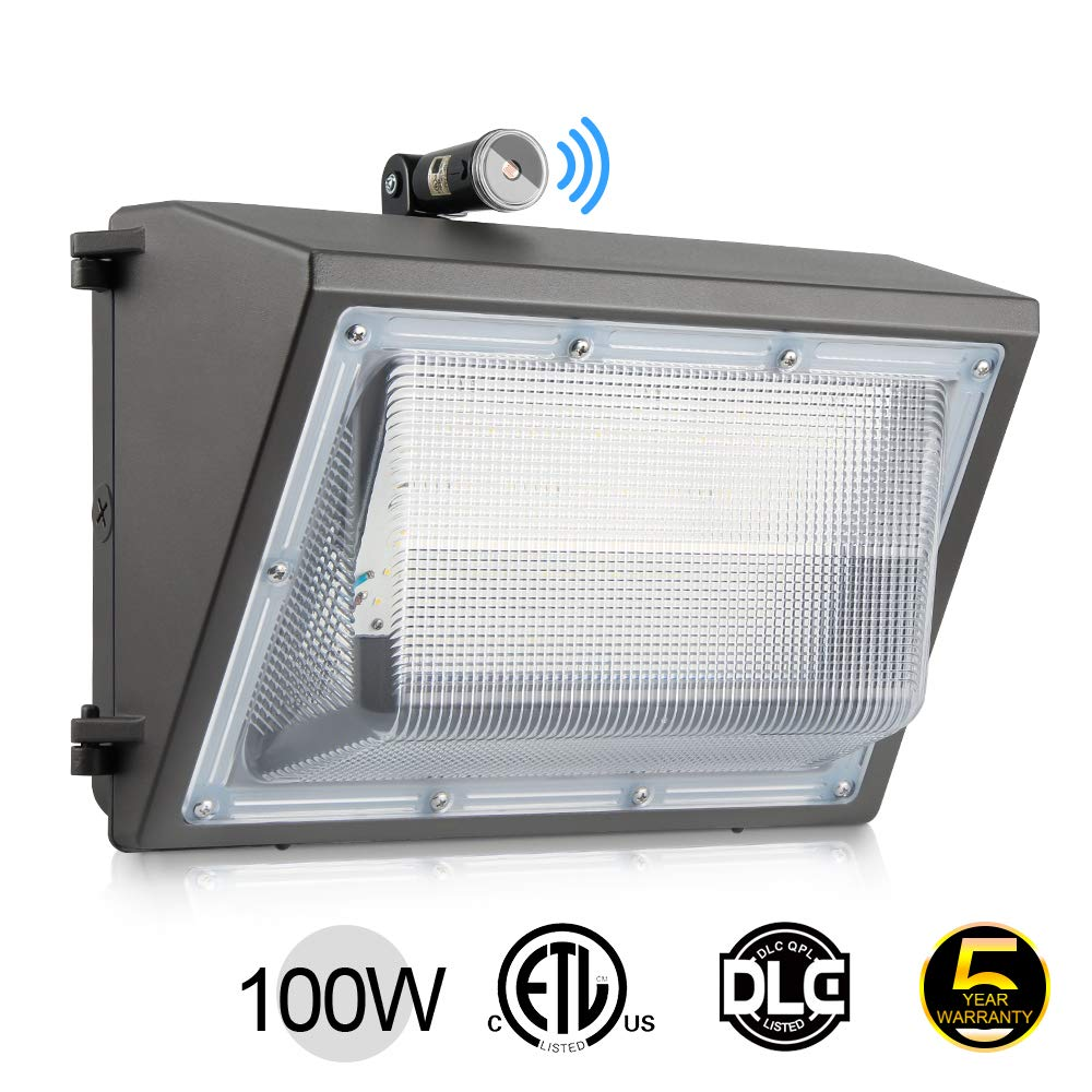 100W LED Wall Pack Lights with Photocell 13000LM Dusk-to-Dawn 5000K Commercial and Industrial Outdoor Security Lighting Fixture LED Flood Light IP65 Waterproof AC100-277V ETL DLC Listed